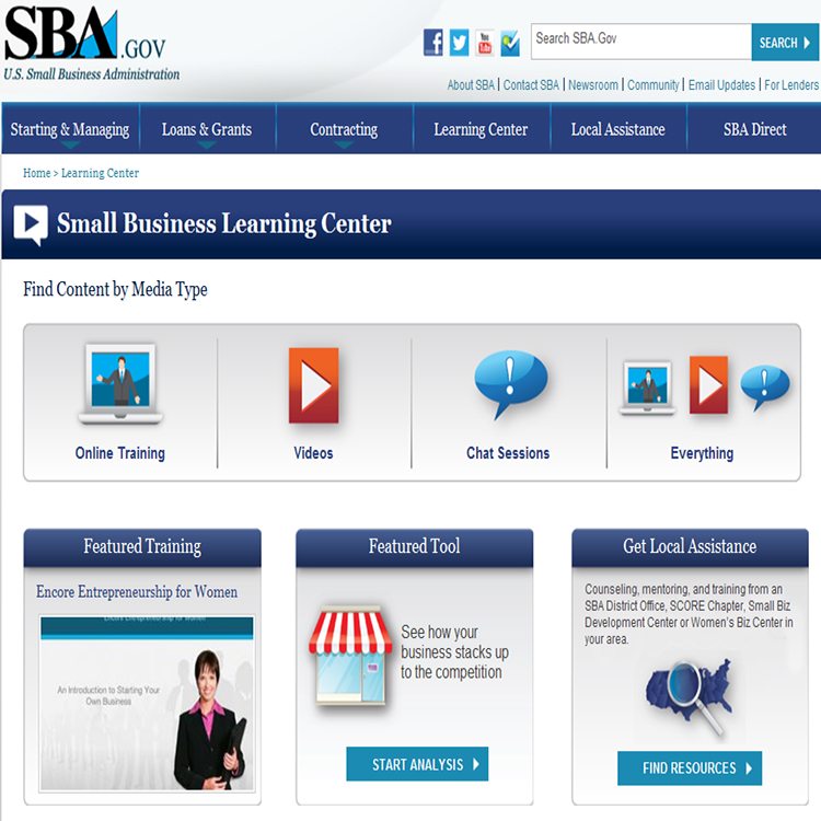 SBA learning center